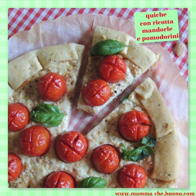 quiche con ricotta mandorle e pomodorini