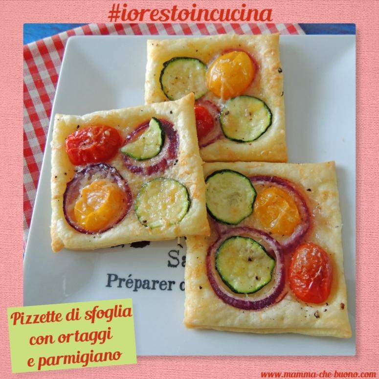 pizzette di sfoglia con ortaggi e parmigiano